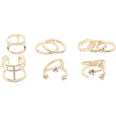 Charlotte Russe Embellished Caged Rings - 9 Pack (9 030 LBP) ❤ liked on Polyvore featuring jewelry, rings, gold, charlotte russe rings, top finger rings, charlotte russe, rhinestone rings and stackable midi rings