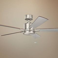 """52"""" Bowen Pull Chain Energy Star Brushed Nickel Ceiling Fan - #9G093 