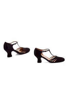Black Satin Lucille T-Strap Heels (25638-EL-254-LUCILLE) van Ellie - These are great black satin t-strap dancing shoes w...Price - $48.00-OqtDtzlS