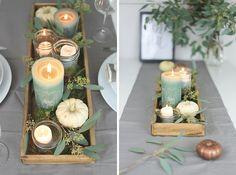 Herbst- Tischdeko mit Kerzen, Mason Jars und Eukalyptus
