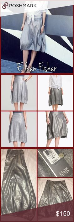 Eileen Fisher Lantern Skirt This size small, silver lantern style, Eileen Fisher skirt is here just in time for you to sparkle on New Years Eve!!! Brand new with tags Eileen Fisher Skirts A-Line or Full