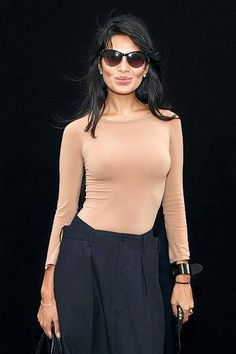 Goga Ashkenazi - nude tight top, black mens trousers / mens'-trousers-inspired skirt?