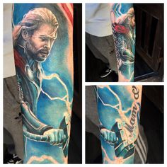 Thor tattoo added to my marvel avengers sleeve