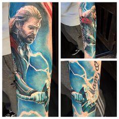 Thor tattoo added to my marvel avengers sleeve