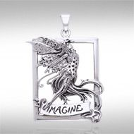 Imagine Fairy Silver Pendant TPD874 - Let your imagination soar with the Imagine Fairy Silver Pendant.