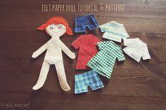 felt paper doll tutorial & template   girl, meets wolf