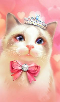 Find images and videos about cute, kawaii and illustration on We Heart It - the app to get lost in what you love. Hello Kitty Wallpaper, Cat Wallpaper, Wallpaper Backgrounds, Iphone Wallpaper, Animal Wallpaper, Kittens Cutest, Cute Cats, Princess Kitty, Pink Princess