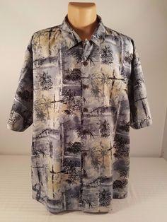 Mens Boca Classics Tropical Hawaiian Blue Short Sleeve Button Down Shirt Sz 2XL #BocaClassics #ButtonFront