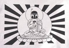 Boba Fett Buddha Shirt - hell yes!   Hey, I found this really awesome Etsy listing at https://www.etsy.com/listing/113771542/mens-star-wars-bobba-fett-buddha