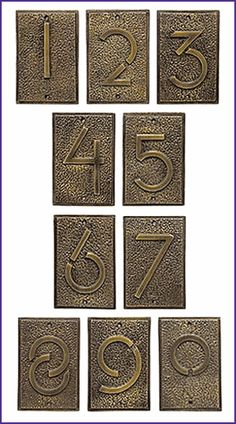 Used these on my house. They're awesome The Frank Lloyd Wright house numbers have been adapted from the lettering style created by Frank Lloyd Wright in 1931 for use on exhibition drawings. Craftsman Mailboxes, Frank Lloyd Wright Style, Copper House, Bungalow Decor, Art Deco Buildings, Tudor House, Arts And Crafts Movement, House Numbers, House Front