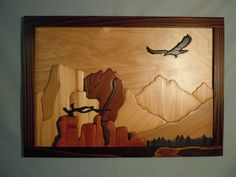 Eagle Cliffs Intarsia Wall Hanging Framed A103 by Norenwood