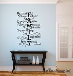 Family Wall Decal Vinyl Lettering Family Rules by JustTheFrosting Family Wall Decor, Family Room, Word Wall Decor, Family Wall Quotes, Home Living Room, Living Room Decor, Family Rules, Vinyl Lettering, New Wall