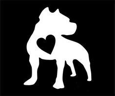Pitbull Heart 1 WHITE Vinyl Car/Laptop/Window/Wall Decal