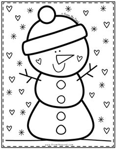 Cute Snowman Coloring Pages Coloring Club — From the Pond Spider Coloring Page, Snowman Coloring Pages, Colouring Pages, Coloring Sheets, Coloring Books, Preschool Christmas, Christmas Activities, Preschool Crafts, Christmas Crafts