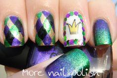 Fake Tattoos - Jester / Harlequin nail art ~ More Nail Polish