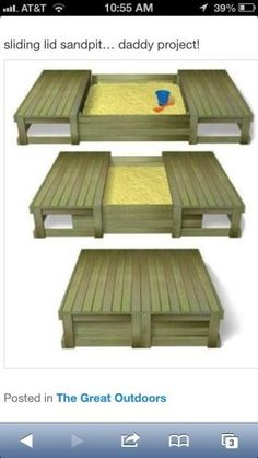I love this sandbox--I will pin a couple more that I like. This just needs a canopy. Posts could go on 4 corners with canopy? by jeri