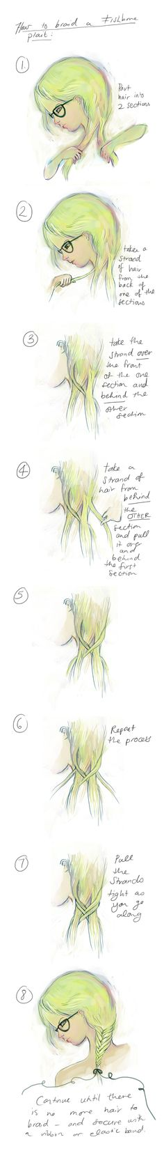 How to braid your hair into a fish bone plait, illustration step by step