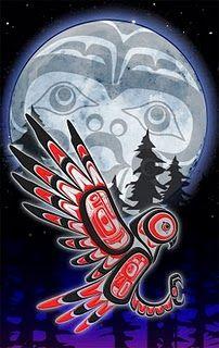 Totem Moon  owl art  inuit  bird
