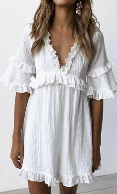 white ruffle linen summer dresses   beach fashion   summer vacation outfit ideas