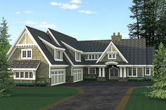 Cape Cod House Plan with 3 Bedrooms and Baths - Plan 9674 Mountain House Plans, Family House Plans, House Floor Plans, Shingle Style Homes, Montana Homes, Fireplace Built Ins, Craftsman Style House Plans, Craftsman Homes, Luxury House Plans