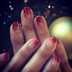 J Nails, Glitter Tip Nails, Red Glitter, Umbre Nails, Red Ombre Nails, Holiday Nails, Christmas Nails, Simple Elegant Nails, Red Nail Polish