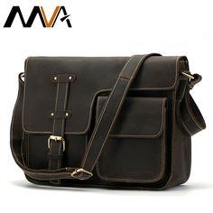75e5f53e07 MVA Crazy Horse Genuine Leather Men s Bags Crossbody Bags Zipper vintage messenger  bag men s shoulder bag genuine leather 1050-in Crossbody Bags from ...