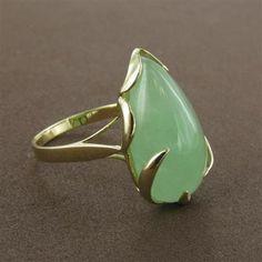 14K Gold Jade Pear Ring  $299.00 fireandice.com #jewelry