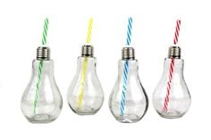Light Bulb Novelty Drinking Glasses With Matching Reusable Straws Set Of 4