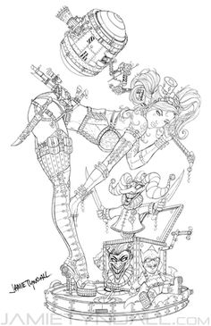Steampunk Harley Quinn Coloring page