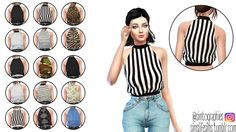"simslifesims: "" High Neck Top - By @simtographies • New mesh. • 15 swatches / 15 modelos. • All lods. • Base game compatible. • Don't re-edit, reupload or claim as your own. • Recolors allowed, but..."