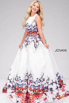 Ivory Multi Floral A Line Dress 48659