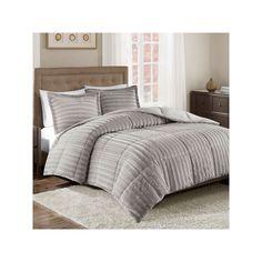 Madison Park Duke Faux Fur Comforter Set, Grey