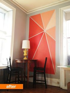 Maura had recently made the move to a small studio apartment with 12-foot walls, a lot of blank space to fill with a small decorating budget. One Saturday after breakfast, an idea on how to transform her dining area with DIY painted wall art came to her.