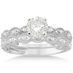 Amazon.com: Antique Pave Diamond Engagement Ring Set Palladium (0.20ct): Allurez: Jewelry