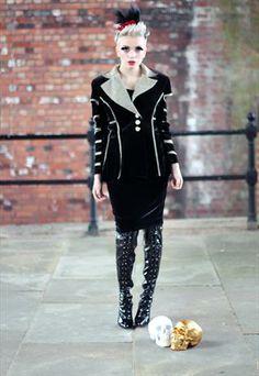 Velvet cut out punk grunge gothic Slash Arms Jacket from Pretty Disturbia