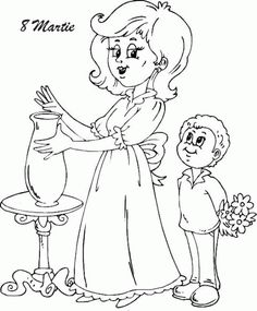 suprise mom with flowers coloring page Cool Coloring Pages, Coloring For Kids, Sketch Free, 8 Martie, Drawing Sketches, Drawings, Kawaii Wallpaper, Business For Kids, Videos Funny
