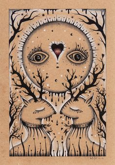 THE LAST KISS DOWN THE MOON  (ink & colored pencils on brown paper)    AVAILABLE : https://www.etsy.com/listing/111460119/the-last-kiss-down-the-moon-original?ref=pr_shop