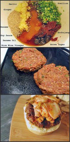 Open Sesame Burger (Served open-faced on a sesame seed bun) Bulgogi Burger. Bulgogi was my favorite in Korea! Bulgogi Marinade, Burger Recipes, Beef Recipes, Cooking Recipes, Hamburgers, Cheeseburgers, Beef Dishes, Korean Food, Korean Recipes
