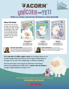 Get information about the Acorn series Unicorn and Yeti by Heather Ayris Burnell and Hazel Quintanilla for beginning readers and do some fun drawing, writing, and counting activities! Reading Resources, Teacher Resources, Counting Activities, Early Readers, Acorn, Cool Drawings, Lesson Plans, Sparkles, Friendship