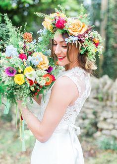Flowers Bouquet Bride Bridal Greenery Foliage Whimsical Rose Large Fern Green Crown Hair Halo Headdress Colourful Festival Wedding Ideas http://www.sungblue.com/