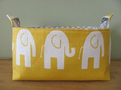 NEW Fabric Diaper Caddy - Fabric organizer storage bin basket - Perfect for your nursery - Yellow/White Elephant via Etsy Travel Theme Nursery, Nursery Themes, Elephant Canvas, White Elephant, Diaper Organization, Storage Organization, Diaper Caddy, Newborn Diapers, Yellow Nursery