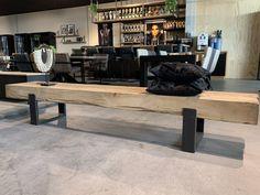 Specialist in maatwerk eiken en steigerhouten meubelen | Eigen werkplaats en showroom in Ede Entryway Bench, Dining Bench, Oak Coffee Table, Outdoor Furniture, Outdoor Decor, Home And Living, Loft, Industrial, Woodworking