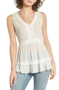 Free shipping and returns on Hinge Ruffle Sleeveless Top at Nordstrom.com. Tiers of subtle ruffles amp up the flirt factor of a breezy chiffon blouse fastened with a neat row of buttons.