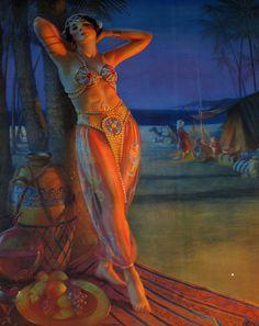 """Sweet Rose of Araby"" by Gene Pressler, circa Belly Dancer Costumes, Harem Girl, Art Deco Paintings, Arabian Women, Fairytale Cottage, Oriental, Scrapbook, Arabian Nights, Erotic Art"
