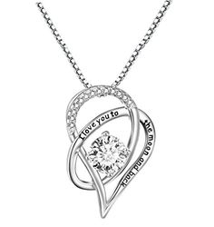 """Sterling Silver """"I Love You To The Moon and Back"""" Love Heart Pendant Necklace With Love Card >>> To view further, visit"""