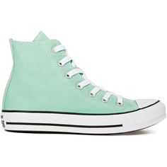 Converse All Star High-Top Sneaker (1,685 INR) ❤ liked on Polyvore featuring shoes, sneakers, converse, sapatos, mint, high top trainers, round toe sneakers, lace up shoes, mint green shoes and lace up sneakers