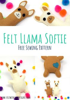 Felt llama softie FREE PATTERN to sew! The stuffed llama pattern includes all the steps you need to add one (or a few) to your collection today! Animal Sewing Patterns, Sewing Patterns For Kids, Felt Patterns, Easy Sewing Projects, Stuffed Animal Patterns, Sewing For Kids, Free Sewing, Felt Projects, Sewing Toys