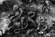 "Detail 2 of cover Illustration for Thomas Ligotti's ""Grimscribe: His Lives and Works"" published by Subterranean Press, 2011"