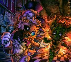 All stories began from here. Today I tried to remember what FNaF is. So I drew original FNaF. ^^ Five Nights at Freddy's / FNaF Fnaf Golden Freddy, Freddy 's, Midnight Shift, 2 Kind, Funtime Foxy, Fnaf Characters, Freddy Fazbear, Fnaf Drawings, Cute Kawaii Drawings