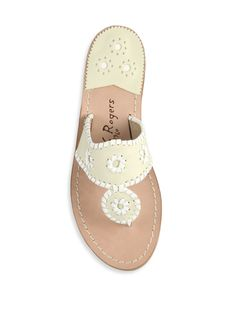 2811363dd Jack Rogers Palm Beach Leather Thong Sandals - Bone White 10.5 Nautical  Colors